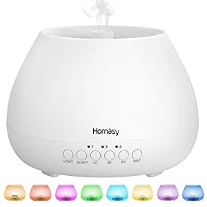 Homasy 500ml Difusor de Aromas, Difusor Aromaterapia con Luz Nocturna de 8 Colores, 21dB Humidificador Difusor Aceites Esenciales Ultrasónico, Humidificador Bebés con Fragante sin BPA, Blanco
