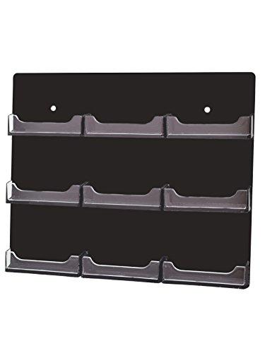 マーケティングホルダー9ポケットブラック水平クリアビジネスカードホルダー壁マウントアクリル