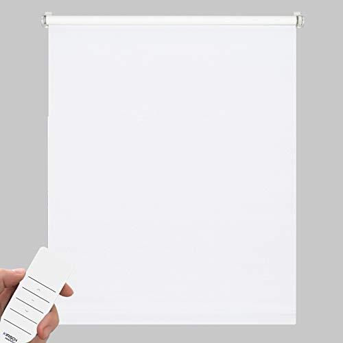 Kirsch Innovation Elektrisches Rollo für Fenster, Klemmfix ohne Bohren, Sichtschutz & Sonnenschutz mit Akku, Tageslichtrollo lichtdurchlässig – 90x210 cm reinweiß – Klemmträger