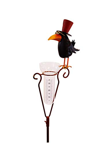 Amicaso Pluviómetro con diseño de cuervo y pájaro con cilindro de cristal...