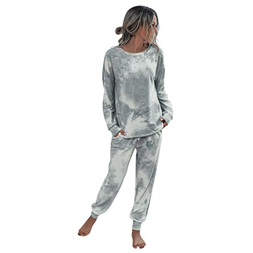 Whear Women's 2 Piece Tie-Dye Sweatsuit Long Sleeve Pullover Tops and Drawstring Sweatpant Pajama Lounge Set(Gray,S)
