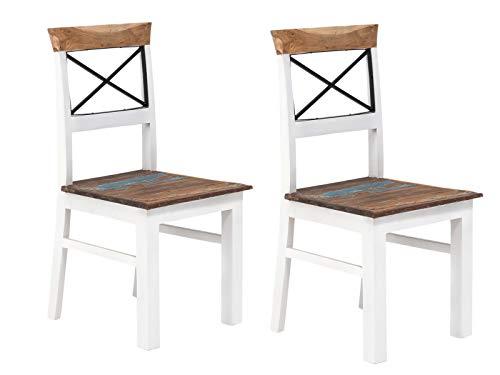Woodkings 2X Holzstuhl Perth Esszimmerstuhl Holz weiß recycelte Hölzer bunt Vintage Optik, mit Rückenlehne Designstuhl, Küchenstuhl, 2er Set