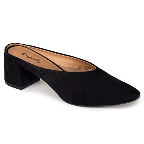 Qupid Womens WULFF-01 Pointed Toe Slip-ONS Black Size 8