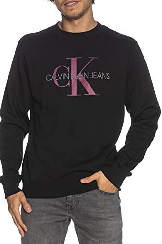 Calvin Klein Jeans Monogram Reg Crew Neck Maglia di Tuta, CK Nero/Chiodo di Garofano Scuro, XL Uomo
