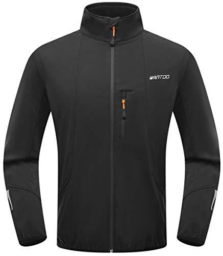 Wantdo Men Athletic Shell Jacket Bike Breathable Windbreak Fleece Coat Black 2XL
