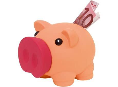 Sparschwein mit weichem Körper aus Gummi in lebendigen Farben, originelle kleine Spardose für Kinder, mit Deckel, leicht und robust, Orange / Rot