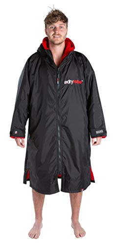 Dryrobe Advance LONG SLEEVE Change Robe - Stay Warm and Dry - Windproof Waterproof Oversized Poncho Coat - Swimming/Surfing/OCR Events (Large - Black/Red)
