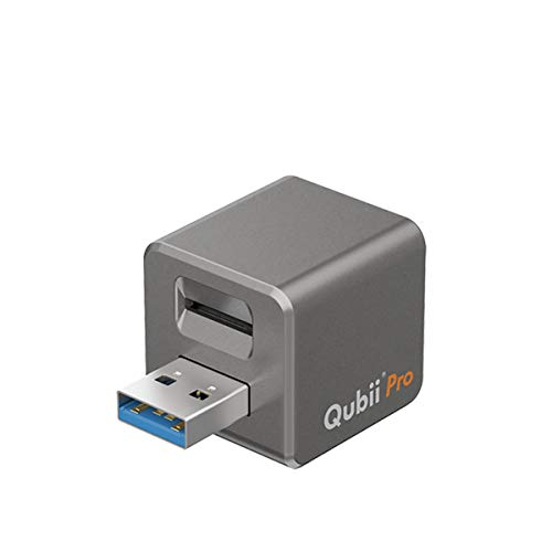 Qubii Pro Photo Storage Device for iPhone & iPad, Auto Backup Photos & Videos [microSD Card Not Included] - Space Gray