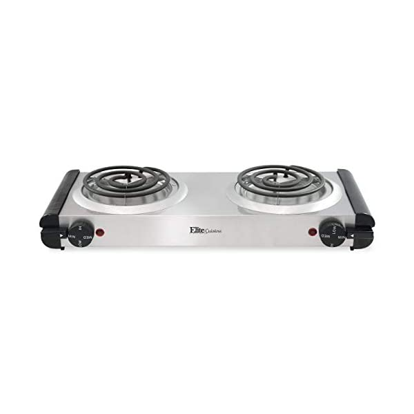 Elite Cuisine EDB-302SS Maxi-Matic Electric Double Buffet Burner with Dual Temperature...