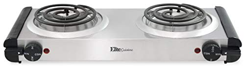 Elite Cuisine EDB-302SS Maxi-Matic Electric Double Buffet Burner with Dual Temperature Control, Stianless, 1500 Watts, Stainless Steel