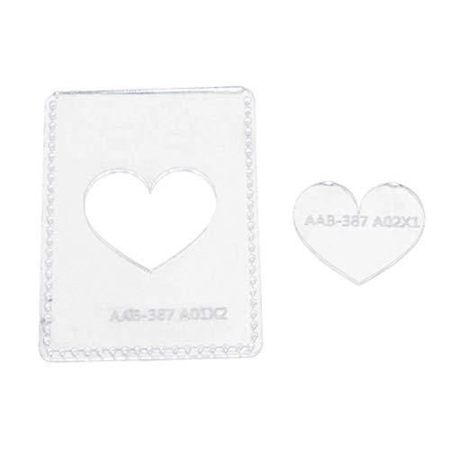 IPOTCH Acryl Quilting Vorlagen Schablone Muster für Lederhandwerk, DIY Schlüsseltasche Schlüsseletui Schlüsselmäppchen - Herz