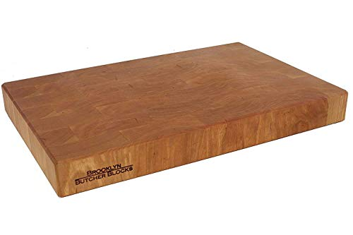 12 x 18 x 1.75 End Grain Cherry Breadboard & Butcher Block - Handmade in USA - Self-Healing - Knife Stays Sharper Longer - Juice Grooves and Indented Handles - Free Rubber Feet Included