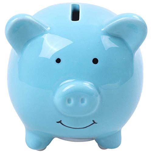 ACAMPTAR Sparschweine Für Kinder, Keramik, Süßes Schwein Für Dekoration, Baby Kinderzimmer Geschenk (Blau)