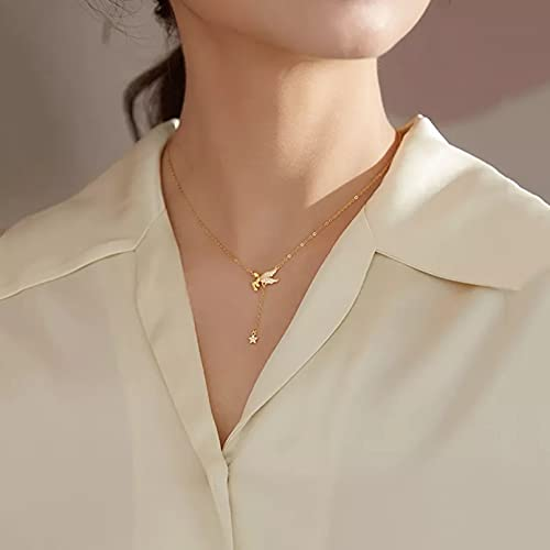 NAJING Necklace925 Sterling Silver Angel Star Tassel Necklace Female Clavicle Chain Light Luxury Jewelry Collar De Perlas Mujer