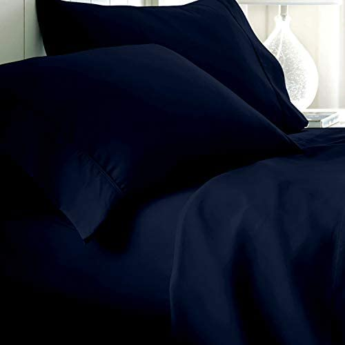 Pure Egyptian Cotton Sheets King-Size – 800 Thread Count Navy Blue Sheets, Hotel Luxury 4 Piece Sateen Weave Bedding Set, Soft Long Staple Cotton, 16 Inch Elasticized Deep Pocket