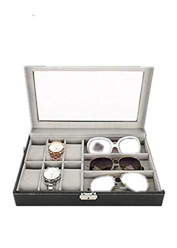 TMISHION 6 + 3 Grid Bril Horloge Opbergdoos, PU Lederen Sieraden Organizer Case Display Boxen voor Koolstofvezel Lederen Case Horloge Sieraden Doos Armband, Zilver Afsluitbare Gesp
