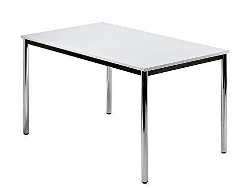 Unbekannt Konferenztisch mit Rund-Rohr Chrom Doran 120 x 80cm Grau