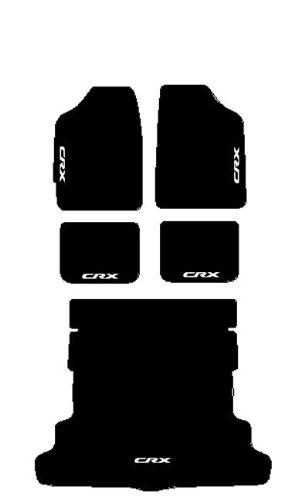 Tapis noirs voiture brodés-Kit complet de tapis en Moquette avec Tapis de coffre sur mesure blanc