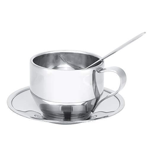 Velaurs Taza de café de Doble Pared, Taza de café de Acero, Capuchino de Acero Inoxidable, Chocolate Caliente, Leche para café, café con Leche, Espresso