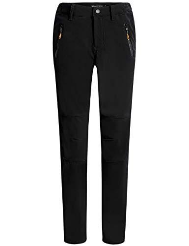 Camii Mia Women's Winter Warm Outdoor Slim Windproof Waterproof Ski Snow Fleece Hiking Pants (27W x 30L, Black)