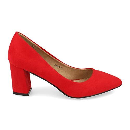 Zapato de Tacon para Mujer, Ancho y de Punta Fina, Estilo Salon,...
