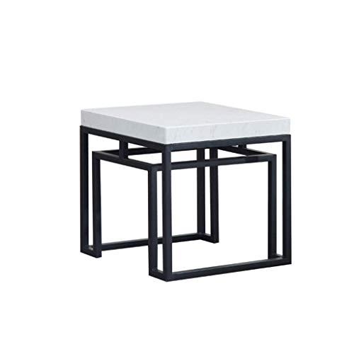 Home Beistelltisch Schreibtischeinfach Beistelltisch Beistelltisch Dicker Marmor Tischplatte Metallrahmen Geeignet für Wohnzimmer Schlafsofa Quadratisch Gold und Schwarz Optional (Größe: 46 × 46 × 45