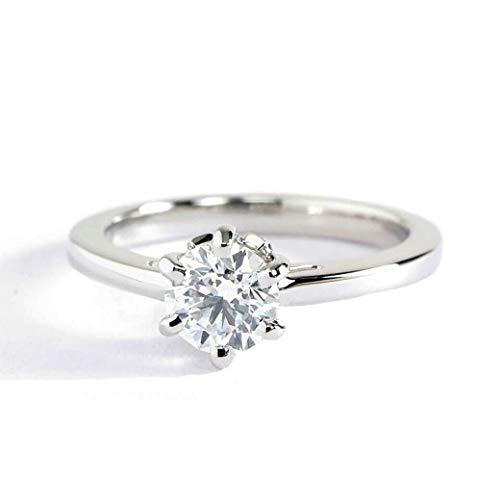 Anillo de compromiso de platino con diamante de corte redondo de 0,55 quilates, SI2 F, 6 puntas, certificado GIA