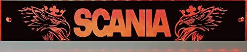 Scania LED-Leuchtschild mit Greif, Svempa, 30x6 cm ✓ Ideale Geschenkidee ✓ Lasergraviert | Edles LED-Schild als Truck-Accessoire | Beleuchtetes Scania Logo-Schild für den 12/24Volt-Anschluss |