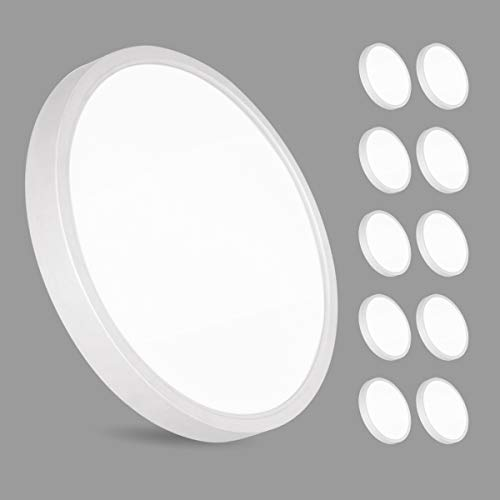 10er 36W LED Deckenleuchte, bapro φ30cm Deckenlampe Bad 2200LM 6500K Kaltweiß Mordern Badezimmerlampe für Badezimmer Küche Wohnzimmer Balkon Flur Schlafzimmer Büro