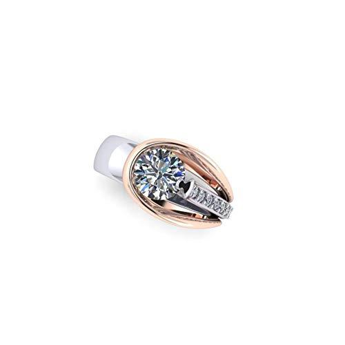Weddingjewel Anillo de compromiso con moissanita de corte redondo brillante de 1,50 quilates, color G-H, claridad VVS