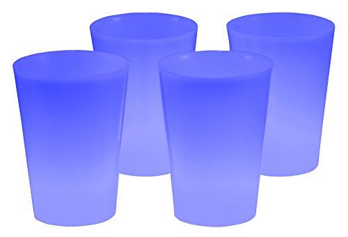 4er Set Knicklicht Becher Knick Leuchtbecher, Cocktailbecher, Trinkbecher 350 ml Blau Trinkglas Cocktailglas beleuchtet