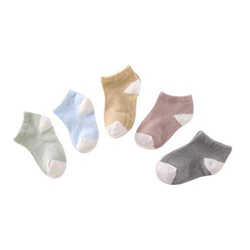 DEBAIJIA 5 Pares de Calcetines de Algodón para Bebé Calcetines Cortos para Niños de 1-3 años Calcetines Suaves y Respirable para Niñas niños para la Primavera Verano en Otoño - Multicolor B - M