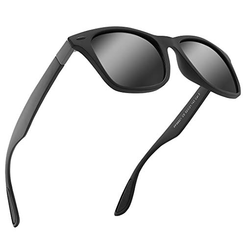Mens Womens Sunglasses Polarised UV Protection Suitable for Cycling Traveling Driving (Black)
