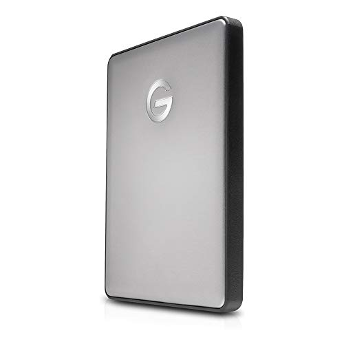 G-Technology G-Drive Mobile USB-C 2 TB (elegantes Aluminium-Design, schnelle Übertragungsrate 140 MB/s, USB-C-fähig, kompatibel mit USB 3.0 und Thunderbolt 3, Mac-kompatibel) space grau