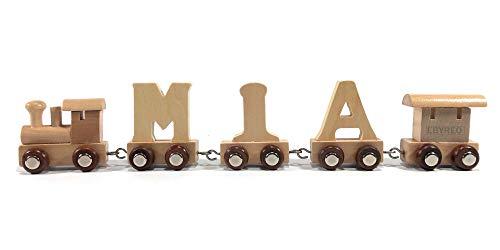 Buchstabenzug Namens-Set Lok + Mia + Endwaggon | EbyReo® Namenszug aus Holz | personalisierbar | Geschenk zur Geburt | Taufgeschenk | Geschenk zu Einschulung (Mia)