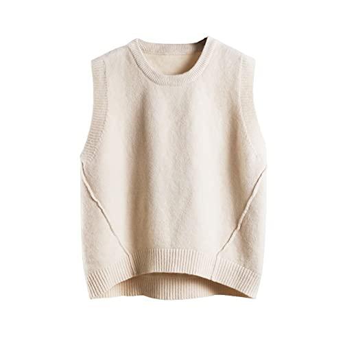 Suéter Mujer Chaleco Sin Mangas - Chalecos De Cuello Redondo Para Mujer Chaleco De Punto Grueso Color Sólido Líneas De Costura Asimétricas Suéter Sin Mangas Informal Con Estilo Suelto Chaleco