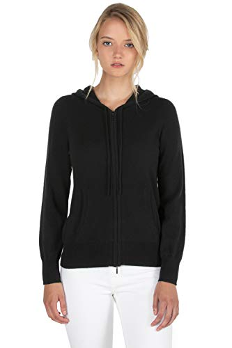 JENNIE LIU Women's 100% Pure Cashmere Long Sleeve Zip Hoodie Cardigan Sweater(S, Black)