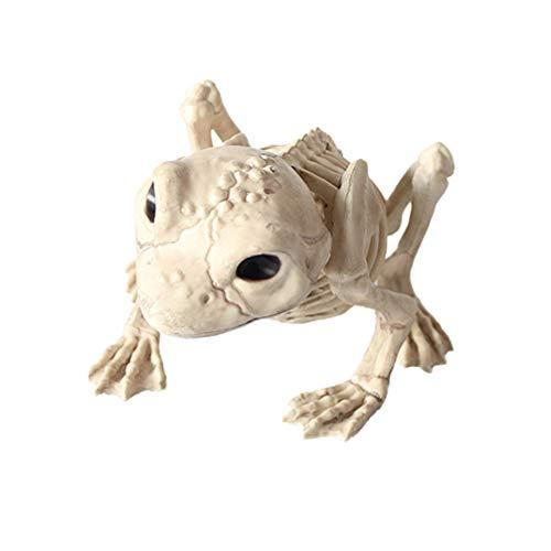 Amosfun Halloween Tier Tier Skelett Beängstigend Frosch Schädel Knochen Figur Statue Statue Requisiten Gruselige Ornament Spielzeug für Spukhaus Bar Requisiten