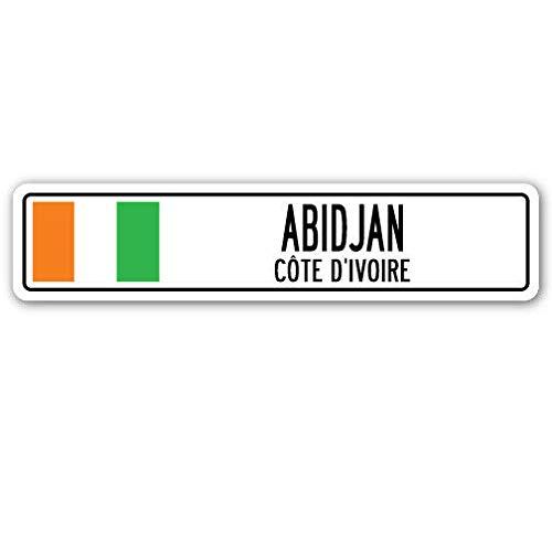 TNND New Abidjan Cete D'Ivoire Straßenschild Elfenbeinküste Flagge Stadt Land Straße W Straßenschild 10,2 x 40,6 cm