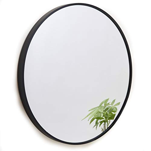 EcoHome Black Round Wall Mirror - 20 Inch Aluminum Circle Frame for -