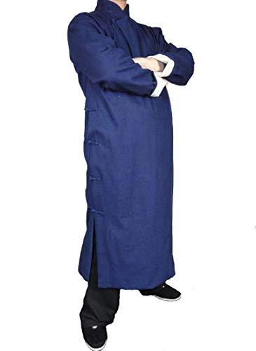 Interact China Handgemachte Blauer Kung Fu Tai Chi Langer Baumwollemantel von Maßschneider #123
