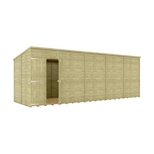 20 x 6 Pressure Treated Hobbyist Pent Shed Tongue & Groove Shiplap Cladding Construction Windowless Offset Door OSB Floor Wooden Garden Shed 6.09m x 1.82m