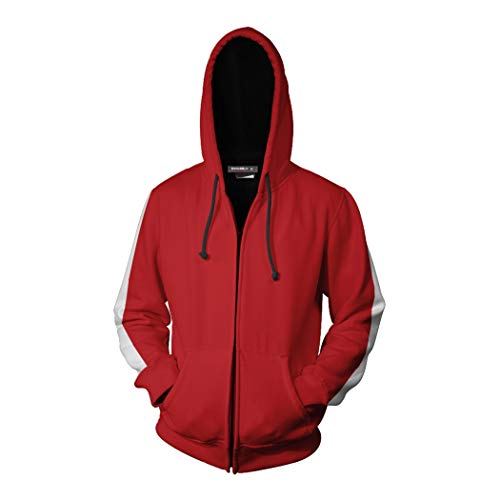 Coco Miguel - Sudadera con capucha y cremallera para disfraz de algodón para niños y hombres - rojo - XX-Large