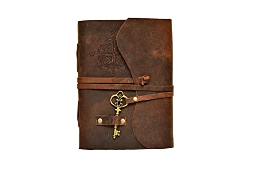 Compass Vintage Leather Journal - Antique Handmade Leather Bound journal with deckle edge paper for Men And Women Diary - Leather Sketchbook - Drawing Journal Notebook - Great Gift (Vintage Brown,8'x6')