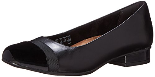 Clarks Women's Keesha Rosa Pump, Black Leather, 8 Medium US