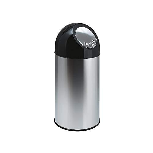 V-Part déchets avec couvercle poussoir-Acier inoxydable-Noir - 40 litres