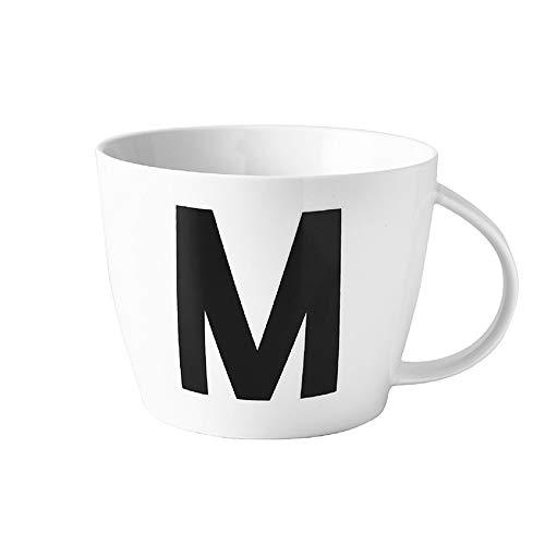 MUXUE Große Kapazität Teetassen Frühstückstasse 800ml, Brief M Hafermilch Tassen, Keramik Teebecher als Geschenke für Freunden und Familien (M)