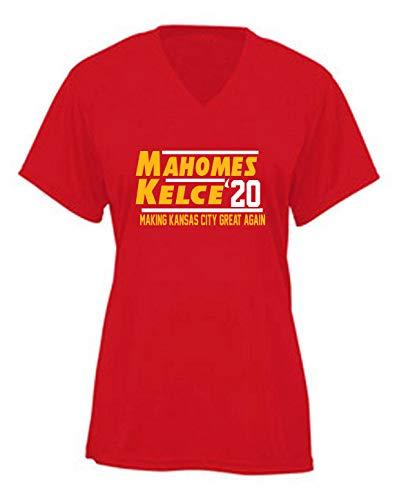 RED Kansas City Mahomes Kelce 2020 Ladies V-Neck T-Shirt Adult