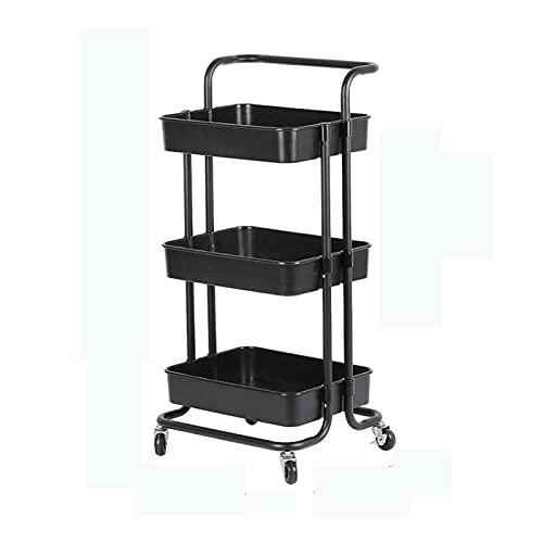 Rolling Cart Movable Kitchen Bathroom Shelf Metal Rolling Trolley Cart Basket Stand Wheels Save Space (Color : Black)