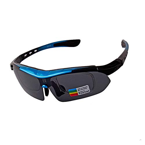 SSDAOO Sportbrillen Set Outdoor Polarized Sonnenbrille Männerbrillen Fahrrad Reiten Brille Multifunktionale Radsportbrille,Blau